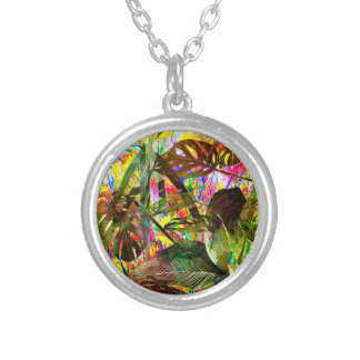 Tropical Plants and Flowers Silver Plated Necklace