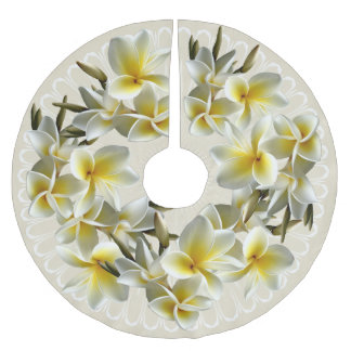 Tropical Plumeria Champagne Christmas Tree Skirt