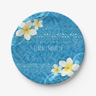 Tropical Plumeria Flower Blue Summer Party 7 Inch Paper Plate