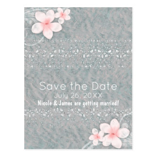 Tropical Plumeria Flower Grey Pink Save the Date Postcard