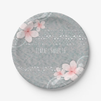 Tropical Plumeria Flower Grey Pink Summer Party 7 Inch Paper Plate