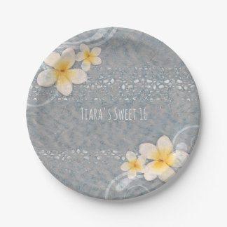 Tropical Plumeria Flower Grey Yellow Summer Party Paper Plate