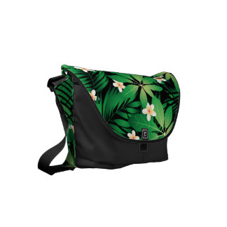Tropical plumeria lush forest courier bag