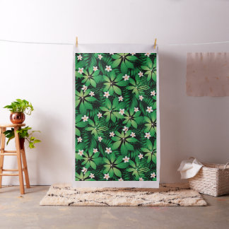 Tropical plumeria lush forest fabric