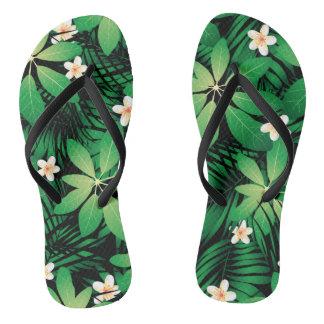 Tropical plumeria lush forest flip flops