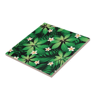 Tropical plumeria lush forest tile