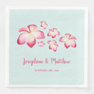 Tropical Plumeria Pink Watercolor Wedding Disposable Napkins