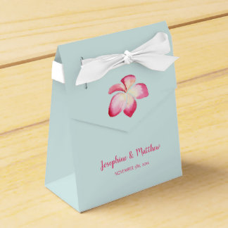 Tropical Plumeria Pink Watercolor Wedding Favor Box