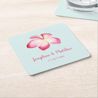 Tropical Plumeria Pink Watercolor Wedding Square Paper Coaster