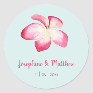 Tropical Plumeria Pink Watercolor Wedding Stickers
