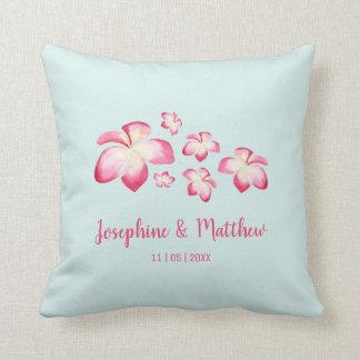 Tropical Plumeria Pink Watercolor Wedding Throw Pillow
