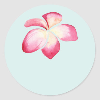 Tropical Plumeria Pink Wedding Favor Stickers