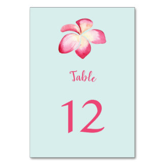 Tropical Plumeria Watercolor Table Number Cards