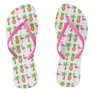 Tropical Print Palm Tree Pineapple Pink Flamingo Flip Flops