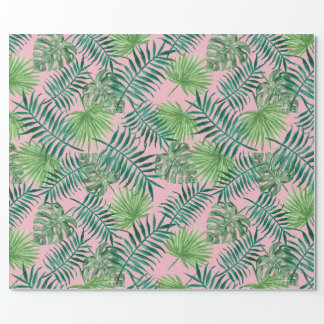 Tropical Print - Palm Trees Pink Wrapping Paper