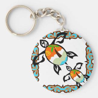 Tropical-print-turtle Keychain