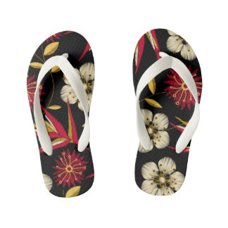Tropical printed embroidery floral kid's flip flops
