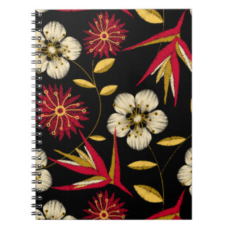 Tropical printed embroidery floral notebook