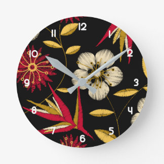 Tropical printed embroidery floral round clock