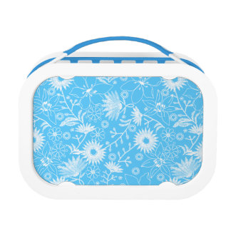 Tropical printred embroidery blue floral lunch box