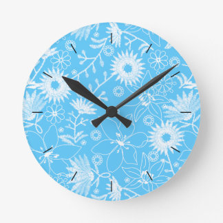 Tropical printred embroidery blue floral round clock
