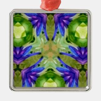 Tropical Purple Green Artistic Abstract Silver-Colored Square Ornament