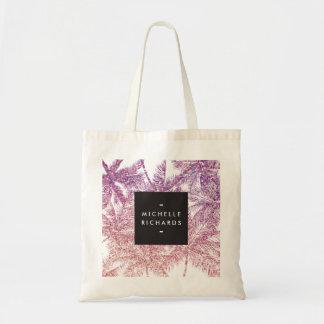 Tropical Purple/Pink Glitter Palms Tote Bag