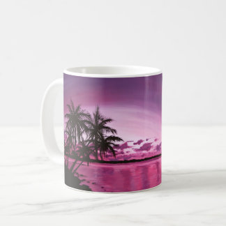 Tropical purple sunset coffee mug