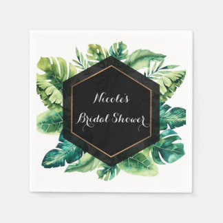 Tropical Rain Forest Leaves Elegant Wedding Party Disposable Napkin