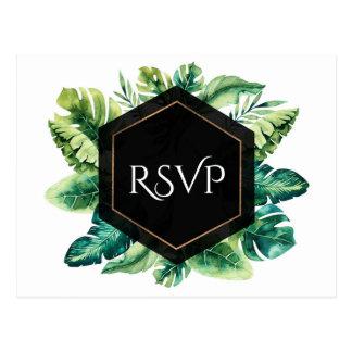 Tropical Rain Forest Leaves Elegant Wedding RSVP Postcard