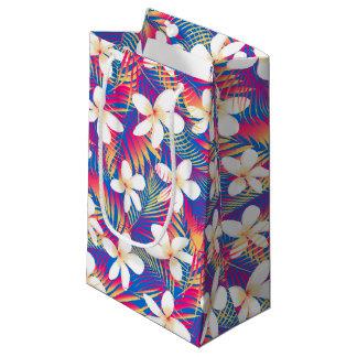 Tropical rainbow frangipani small gift bag