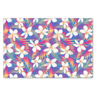 Tropical rainbow frangipani tissue paper