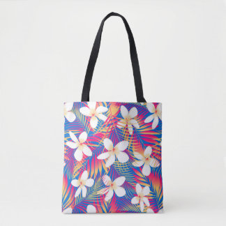 Tropical rainbow frangipani tote bag