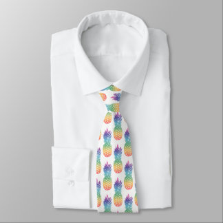 Tropical rainbow pineapple fruit pattern neck tie