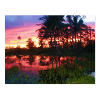 Tropical Rainbow Sunset Postcard
