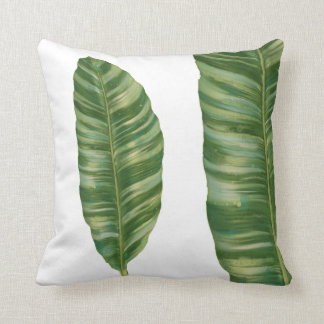 Tropical Rainforest Banana Leaf Foliage Spa Resort Throw Pillow