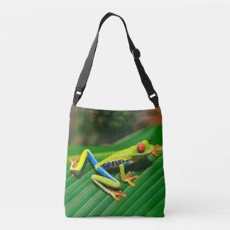 Tropical rainforest green red-eyed tree Frog Crossbody Bag