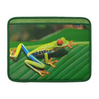 Tropical rainforest green red-eyed tree Frog MacBook Sleeve