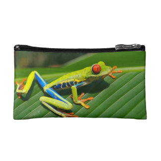 Tropical rainforest green red-eyed tree Frog Makeup Bag