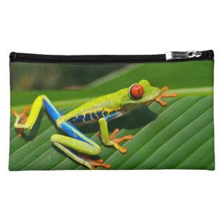Tropical rainforest green red-eyed tree Frog Makeup Bag