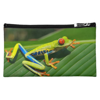 Tropical rainforest green red-eyed tree Frog Makeup Bags