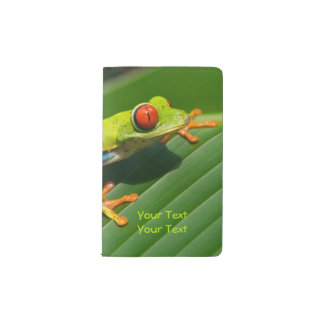 Tropical rainforest green red-eyed tree Frog Pocket Moleskine Notebook