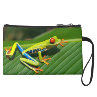Tropical rainforest green red-eyed tree Frog Suede Wristlet