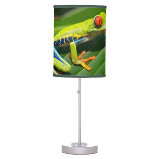 Tropical rainforest green red-eyed tree Frog Table Lamp