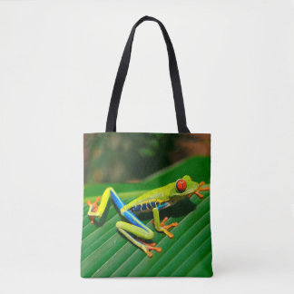 Tropical rainforest green red-eyed tree Frog Tote Bag