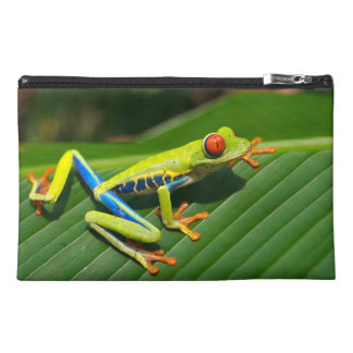Tropical rainforest green red-eyed tree Frog Travel Accessory Bag