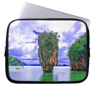 Tropical Rainforest Island Cliffs Laptop Sleeve