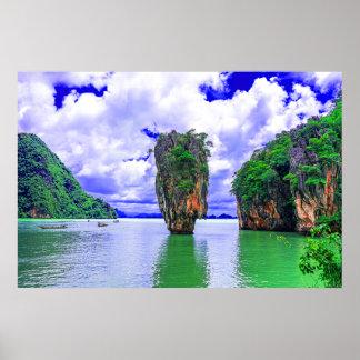 Tropical Rainforest Island cliffs Poster