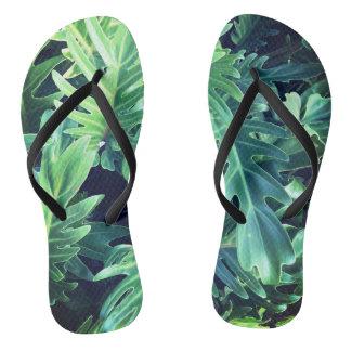 Tropical rainforest leaves flip flops