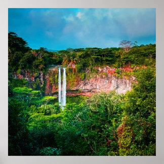 Tropical Rainforest Waterfall Poster